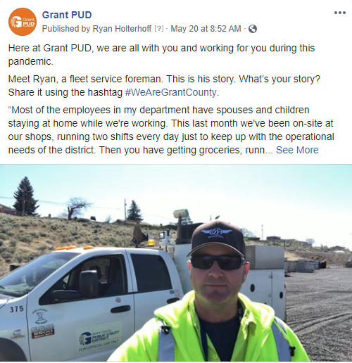 Click here to see our facebook post featuring Ryan, a fleet service foreman at Grant PUD.