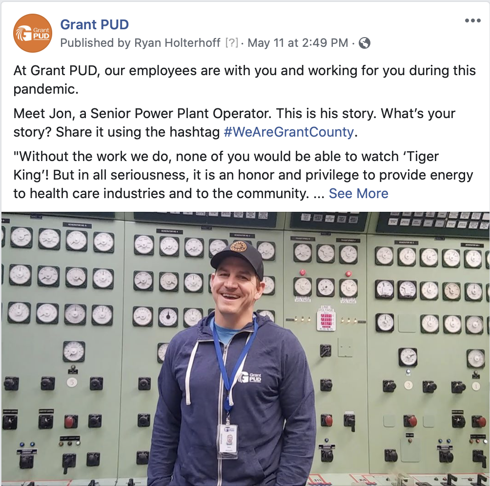Click here to see our facebook post featuring Jon, a Senior Power Plant Operator at Grant PUD.