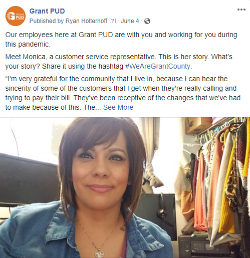 Click here to see our facebook post featuring Monica, a customer service representative at Grant PUD.