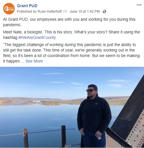 Click here to see our facebook post featuring Nate, a biologist at Grant PUD.