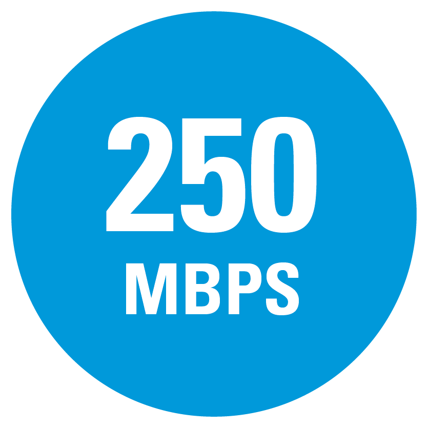 250 MBPS speed