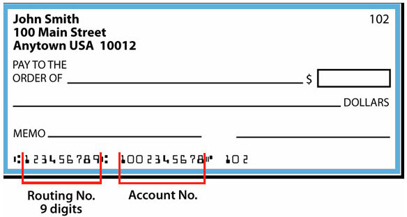 Check image to show location of routing number and bank account number
